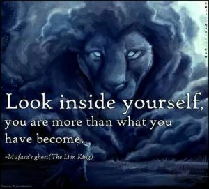 Look inside yourself, you are more than what you have become. ~ Mufasa's ghost in The Lion King